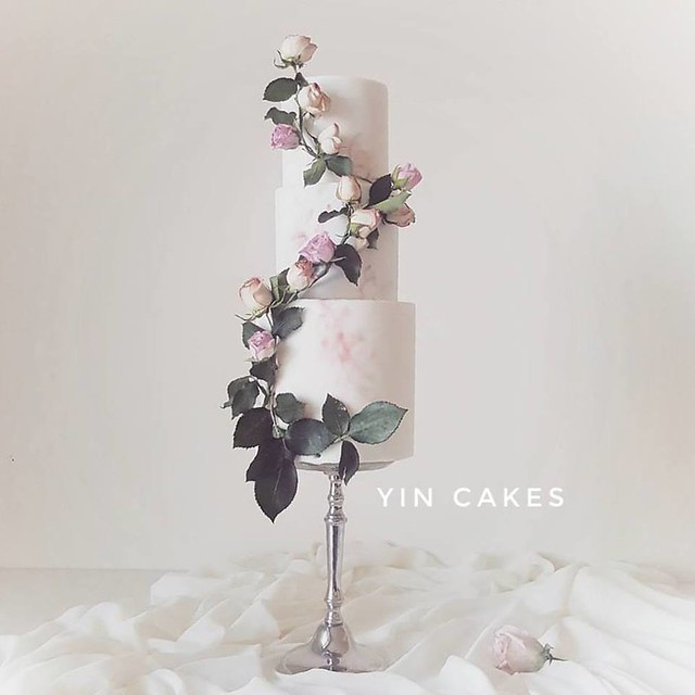 Classic Beauty Adorned with Handmade Sugar Flowers and Real Leaves by YIN Cakes