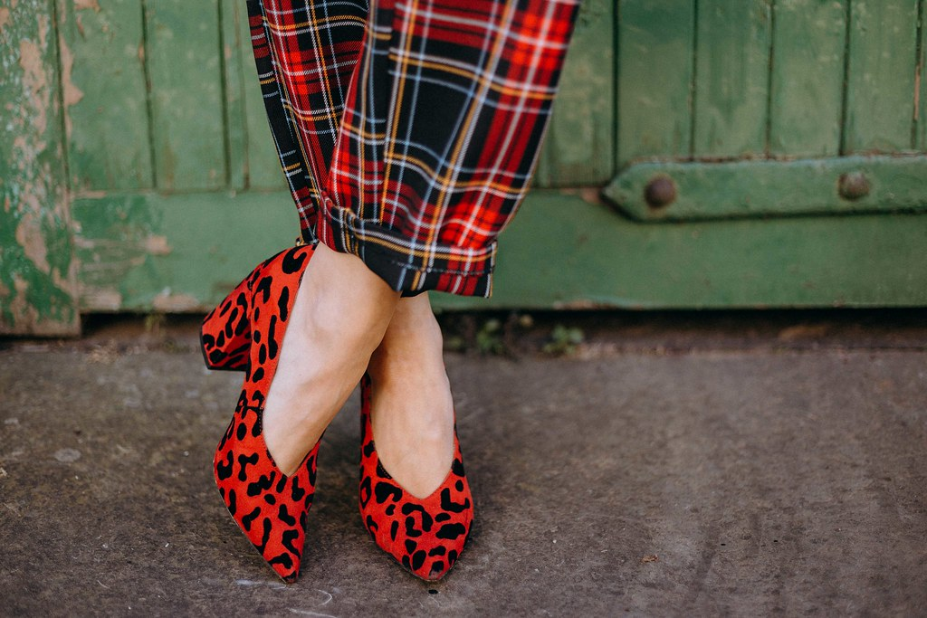 The Little Magpie Red Topshop tartan trousers edinburgh