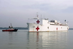 PORT KELANG, Malaysia (April 16, 2016) The Military Sealift Command hospital ship USNS Mercy arrives in Port Kelang to support Pacific Partnership 2018 (PP18). PP18's mission is to work collectively with host and partner nations to enhance regional interoperability and disaster response capabilities, increase stability and security in the region, and foster new and enduring friendships across the Indo-Pacific region. Pacific Partnership, now in its 13th iteration, is the largest annual multinational humanitarian assistance and disaster relief preparedness mission conducted in the Indo-Pacific.  (U.S. Navy photo by Mass Communication Specialist 2nd Class Joshua Fulton/RELEASED)