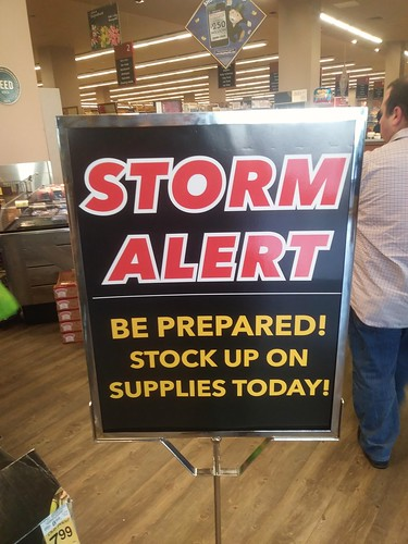 Storm Alert sign in a Safeway supermarket
