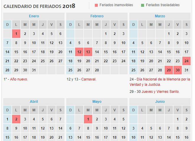 Feriados Nacionales 2018
