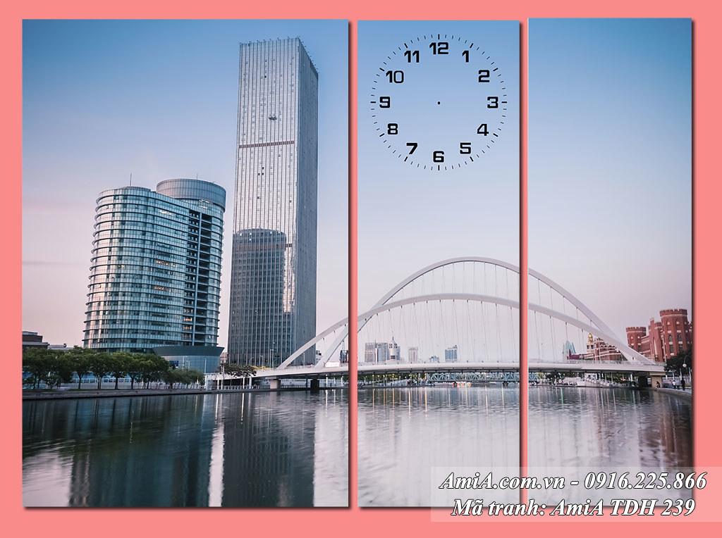 AmiA 239 - Tranh quê hương phong cảnh thành phố phồn hoa