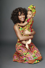 Family Photography - Mother Holding Daughter Colourful Headwrap