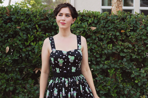 Hell Bunny 50s Cactus Swing Dress in Black