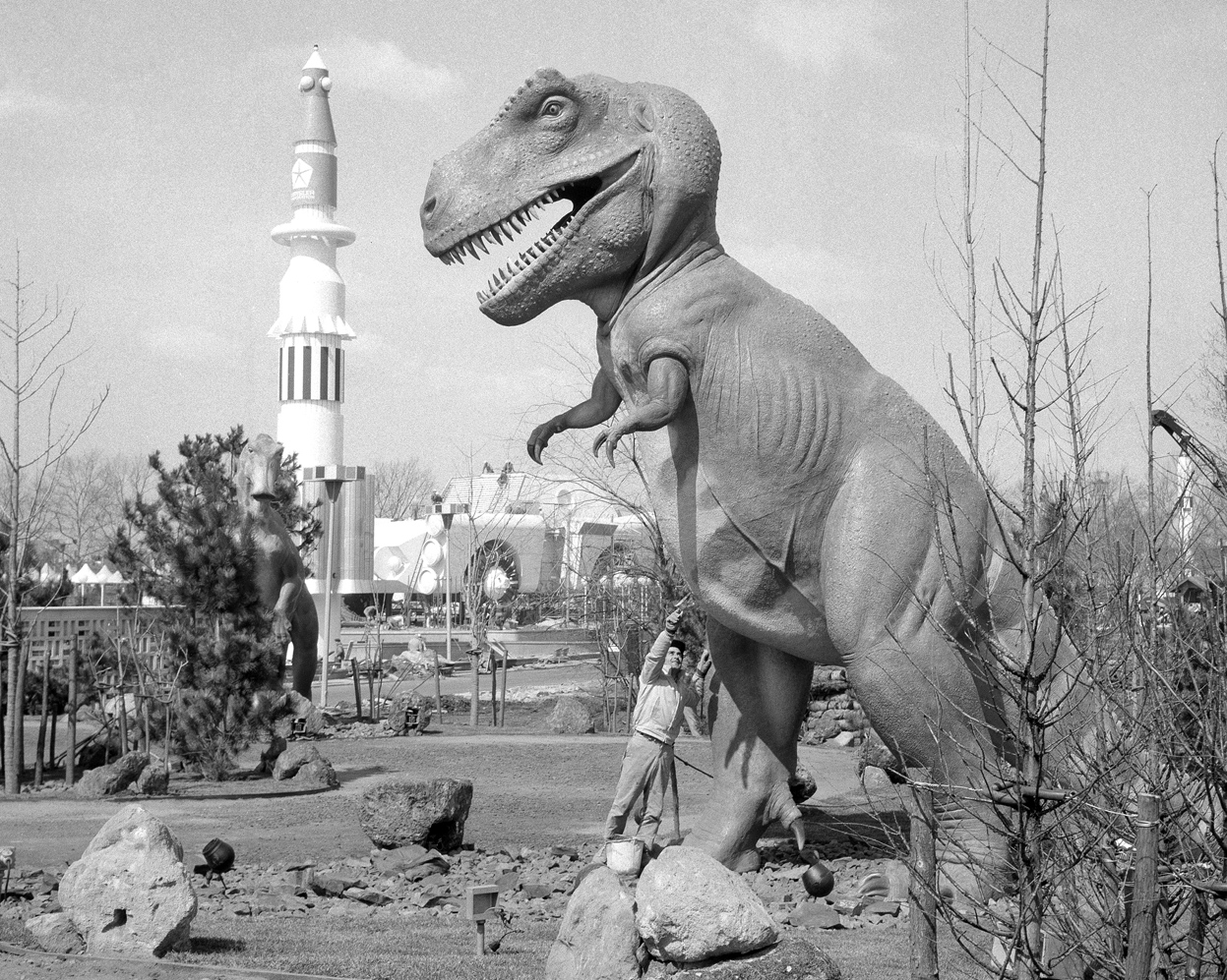 Dinoland under construction prior to the opening of the 1964-1965 New York World's Fair.