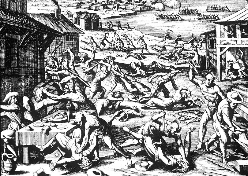 A 1628 woodcut by Matthaeus Merian published along with Theodore de Bry's earlier engravings in 1628 book on the New World. The engraving shows the March 22, 1622 massacre when Powhatan Indians attacked Jamestown and outlying Virginia settlements. Merian relied on de Bry's earlier depictions of the Indians, but the image is largely considered conjecture.