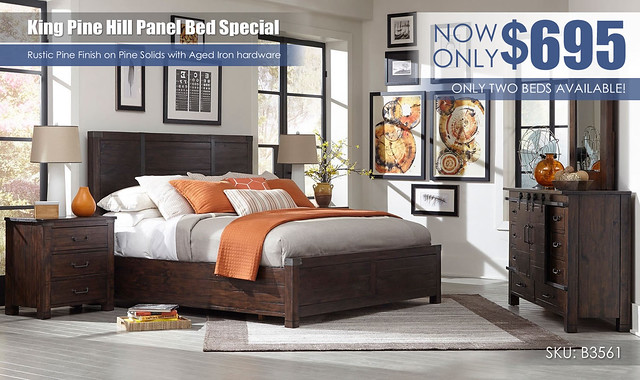 King Pine Hill Bed Special_B3561-54-br-set-pnl-1