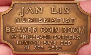 Jan Lis Numismatist business card medal