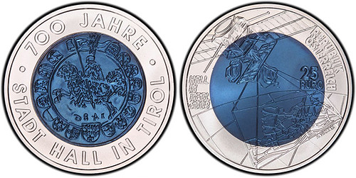 2003 Austria 25 Euro Tyrol niobium coin