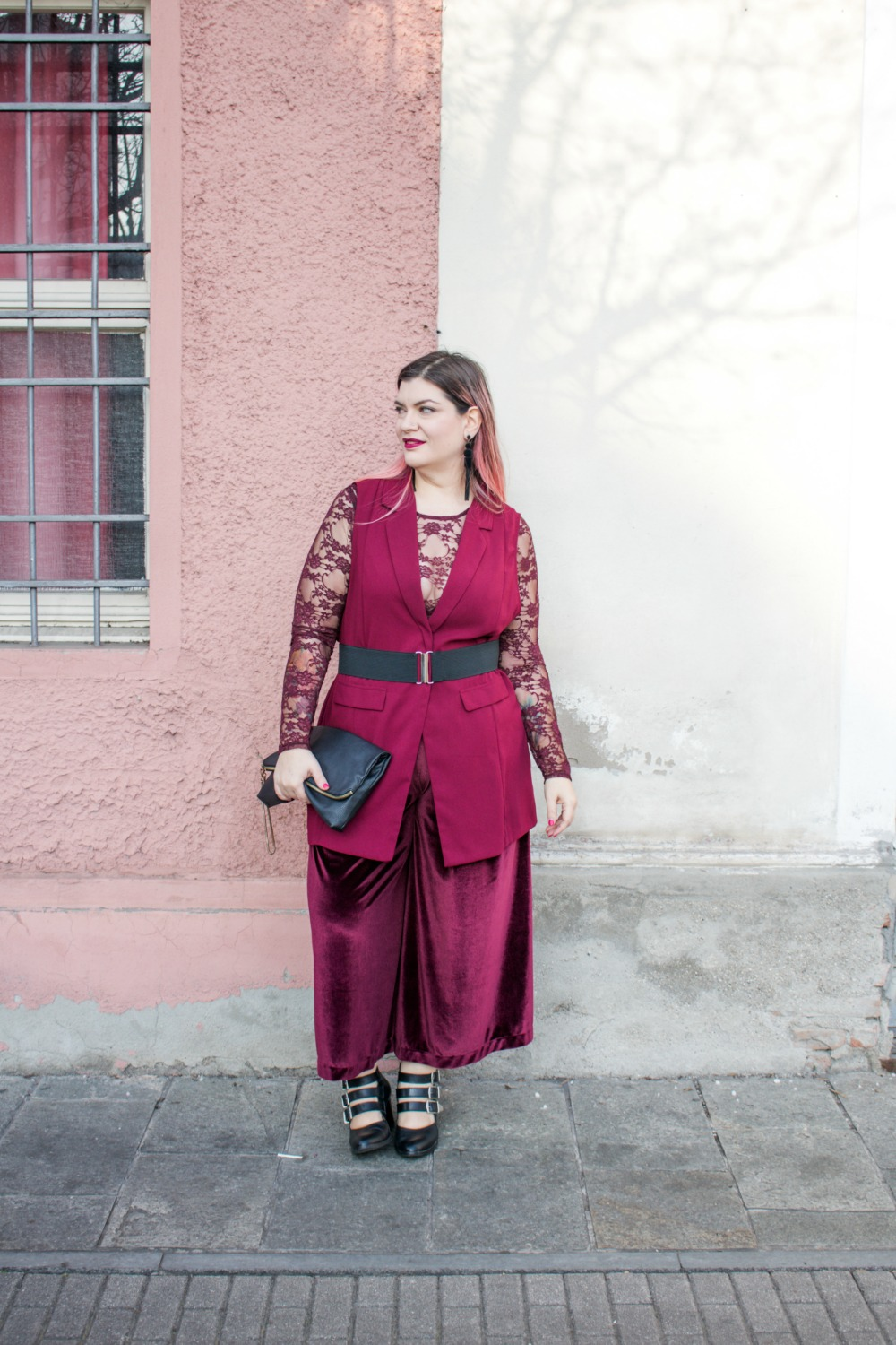 outfit monocolore, monocromatico plus size panta palazzo come le ciliegie (2)