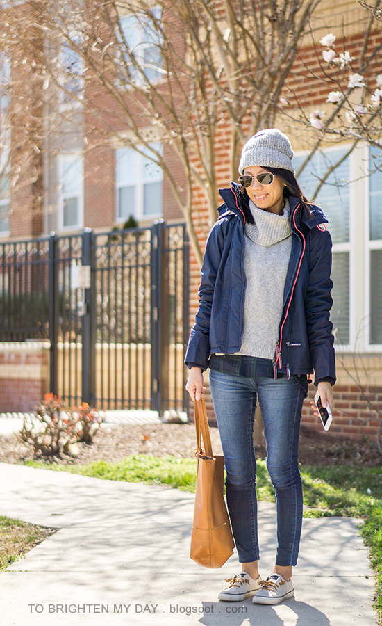 gray beanie, navy windcheater jacket, gray turtleneck sweater over black watch plaid shirt, skinny jeans, cognac tote, canvas sneakers