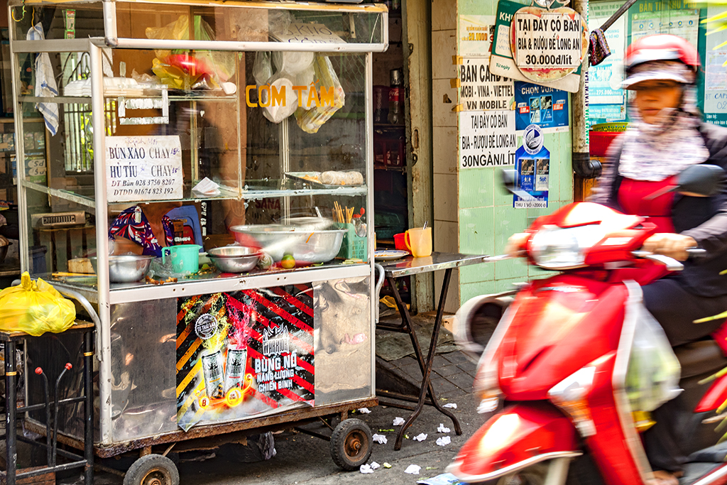 Alley rice noodle and rice gruel stand--Saigon