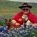 Dog Lady in Bluebonnets by Calsidyrose