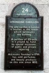 Photo of Atkinsons Carillon, James Atkinson, Edward Atkinson, and Atkinsons of London black plaque