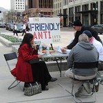 A table for Mormons to have a discussion with a 'friendly' anti-Mormon during General Conference.