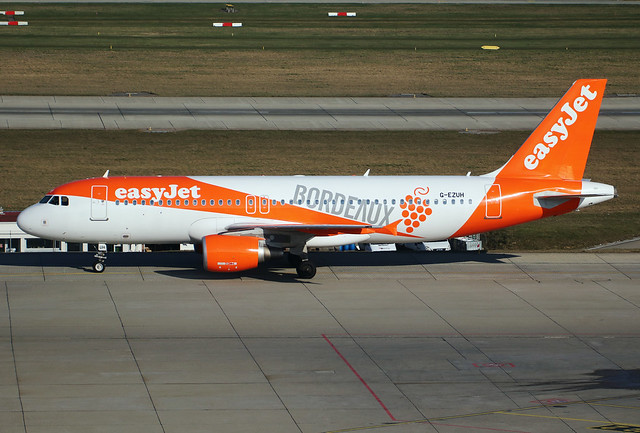 "Airbus A320-214 easyjet G-EZUH in ""Bordeaux"" livery. GVA, March 23. 2018"