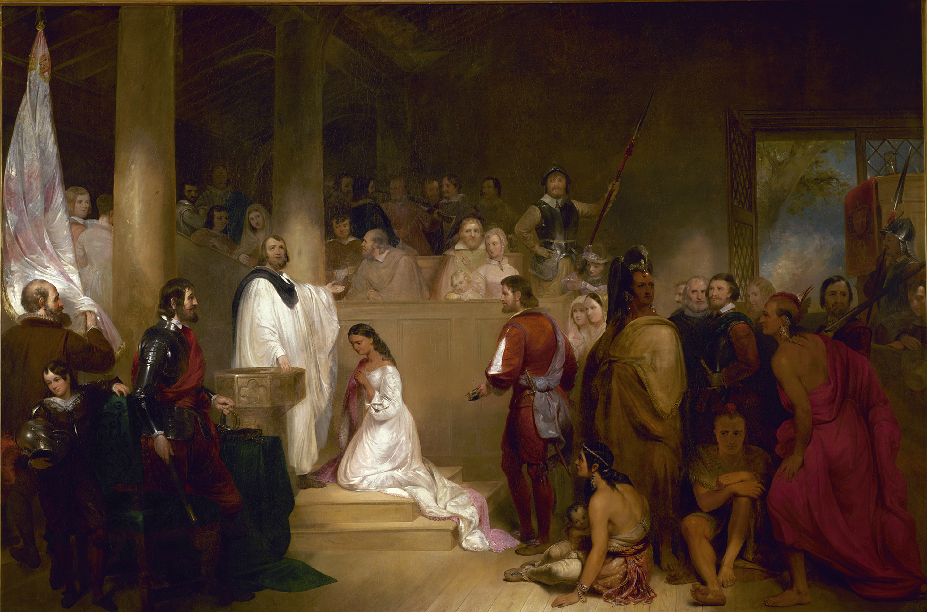 The Baptism of Pocahontas by John Gadsby Chapman, (1840). A copy is on display in the Rotunda of the US Capitol. The oil on canvas depicts Pocahontas, wearing white, being baptized Rebecca by Anglican minister Alexander Whiteaker in Jamestown, Virginia; this event is believed to have taken place in 1613 or 1614. She kneels, surrounded by family members and colonists. Her brother Nantequaus turns away from the ceremony. The baptism took place before her marriage to Englishman John Rolfe, who stands behind her. Their union is said to be the first recorded marriage between a European and a Native American. The scene symbolizes the belief of Americans at the time that Native Americans should accept Christianity and other European ways.