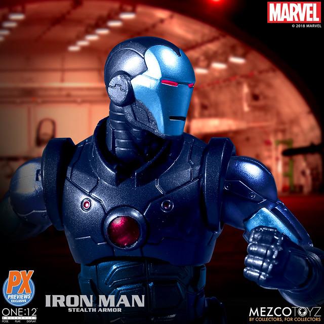 「新增官圖」難得的低調配色~~ MEZCO ONE:12 COLLECTIVE 系列 Marvel Comics【鋼鐵人 匿蹤裝甲版】Iron Man Stealth Armor 1/12 比例人偶作品  Previews 限定