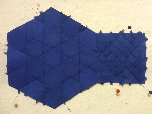 I'm adapting Andy's origami rendition of a 6.4.3.4 tiling (see comment below) into a wall-hanging-sized fabric piece as a gift for him.  In the hexagon motif, the triangles and hexagons have 1' square sides. The squares-within-squares had to be adapted to match, and are roughly 7/10 of an inch. Because math, yo.