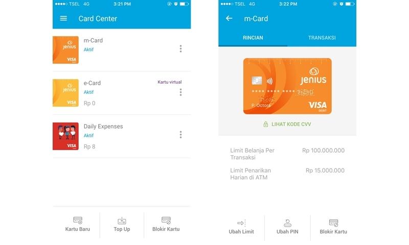 Tampilan card center di aplikasi Jenius tempat mengatur kartu Visa Debit Jenius | Hola Darla