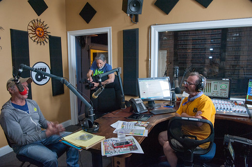Zachary Richard in the studio with Charlie Steiner and Rockin' Ron Phillips at WWOZ for Day 2 of French Quarter Fest - 4.13.18. Photo by Michael E. McAndrew Photography.