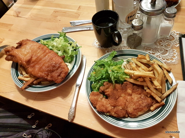Fried whitefish and Schnitzel
