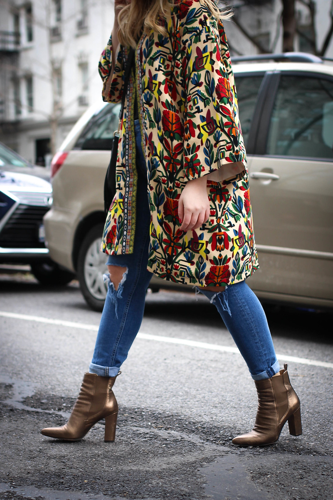 New York City Street Style Colorful Overcoat Distressed Denim Bronze Booties Spring Fashion Outfit