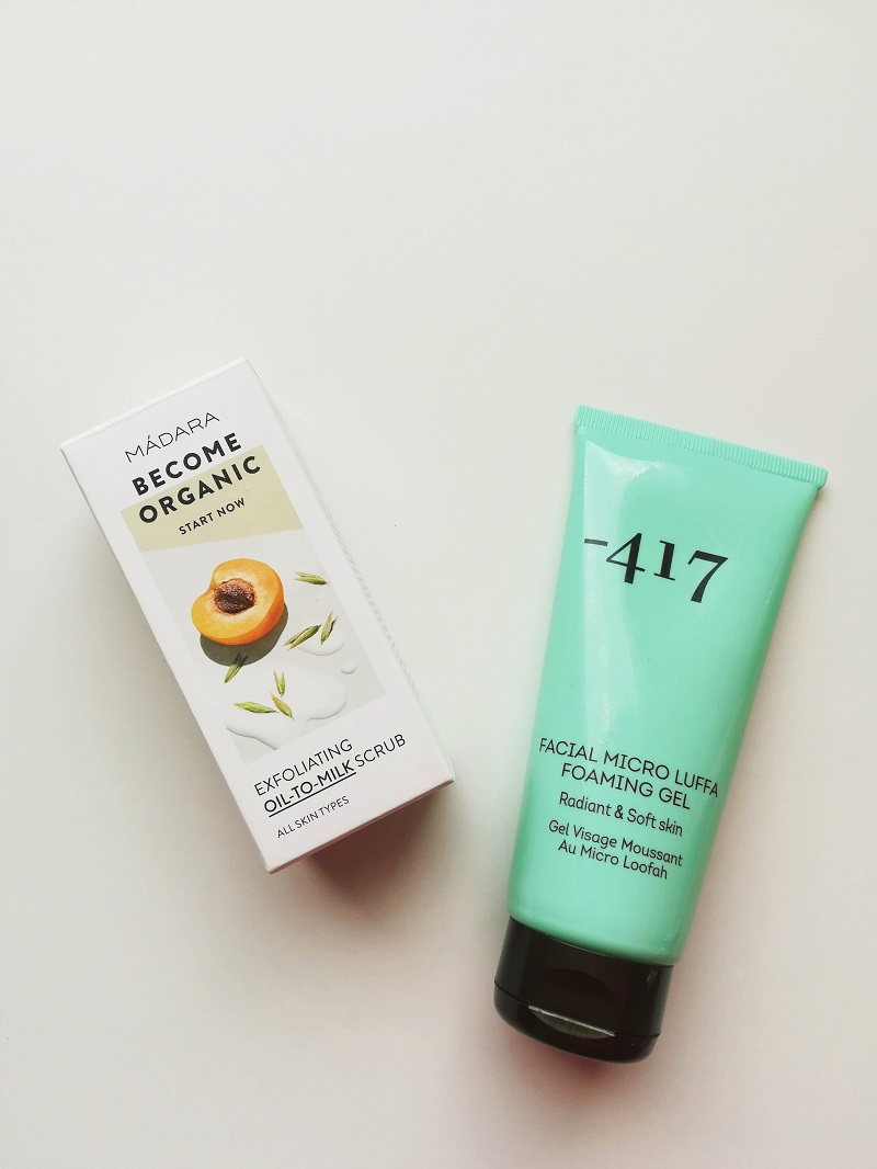 -417 Facial Micro Luffa Foaming gel, Madara Exfloating Oil-To-Milk Scrub, Sanniijuliaa