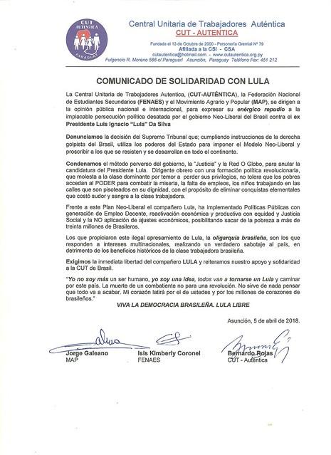 Cartas e Notas de Solidariedade ao Lula
