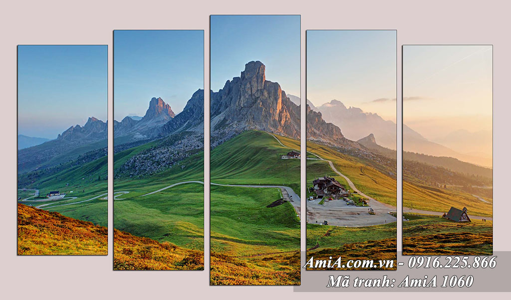 AmiA 1060 - Tranh bộ đồi núi phong cảnh đẹp quê hương Việt Nam