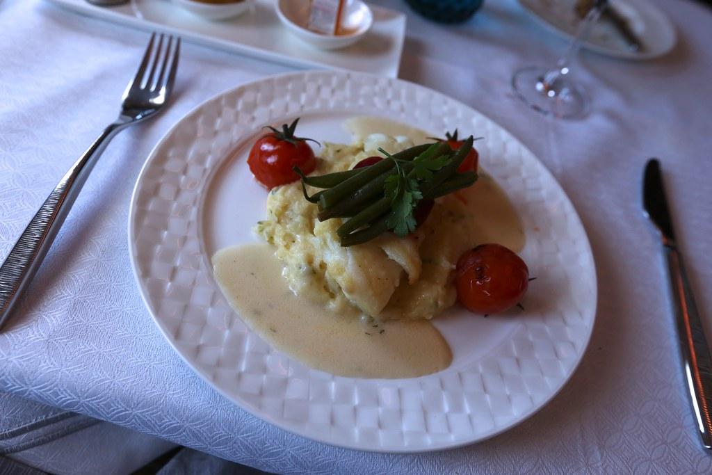 Qatar A380 First Class meal