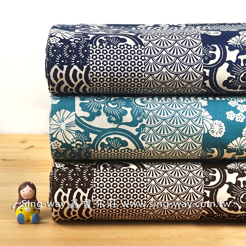 日式圖騰 波浪 海浪 窗花 櫻花 日式和風 手工藝DIy拼布布料 CF550647
