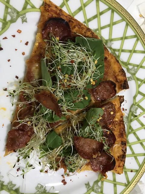 pizza with arugula and alfa alfa