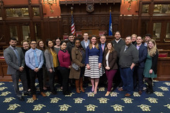 Rep. Cummings posed with members of Leadership Greater Waterbury, a personal and career development program,  who were touring the capitol.