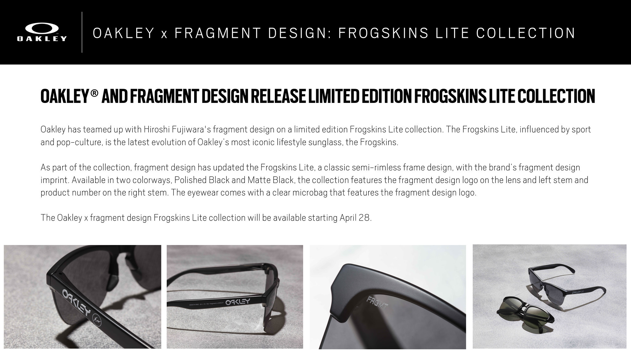 5393157c28b The Oakley x fragment design Frogskins Lite collection will be available  starting April 28.