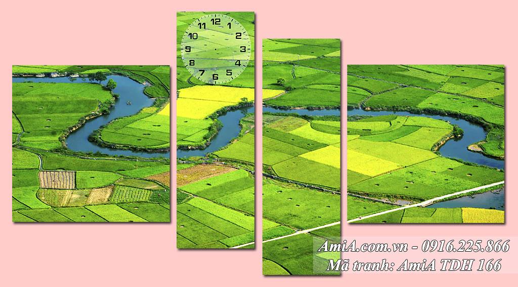 AmiA 166 - Tranh đồng quê Việt Nam tươi xanh