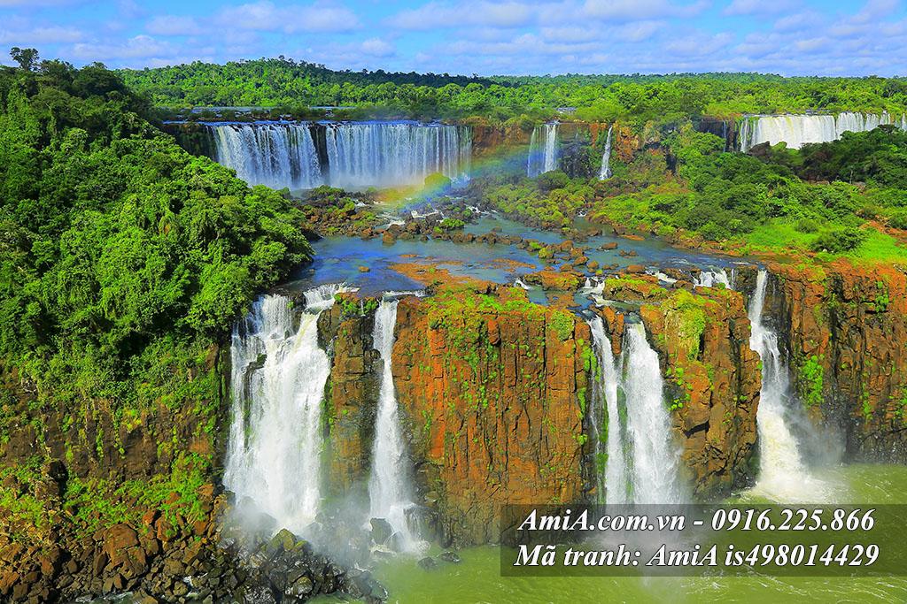 Tranh phong cảnh đẹp thiên nhiên thế giới thác nước