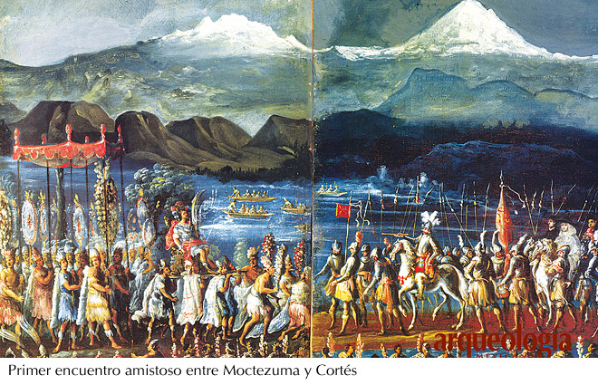 Encuentro Moctezuma y Cortés