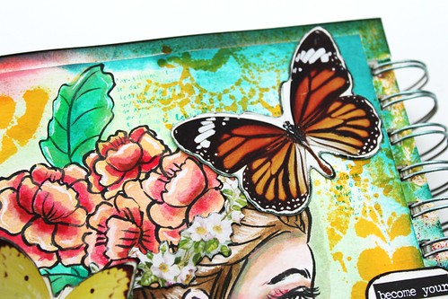 Meihsia Liu Simply Paper Crafts Mixed Media Art Journal Acrylic Paint Illustration Butterflies Simon Says Stamp 3