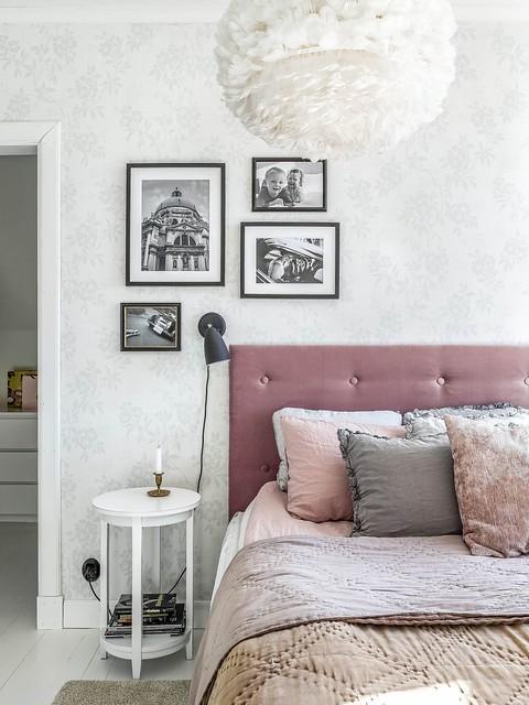 10 bedroom con papel estampado floral mesita handmade