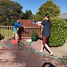 Sequoia and Nick during a water fight