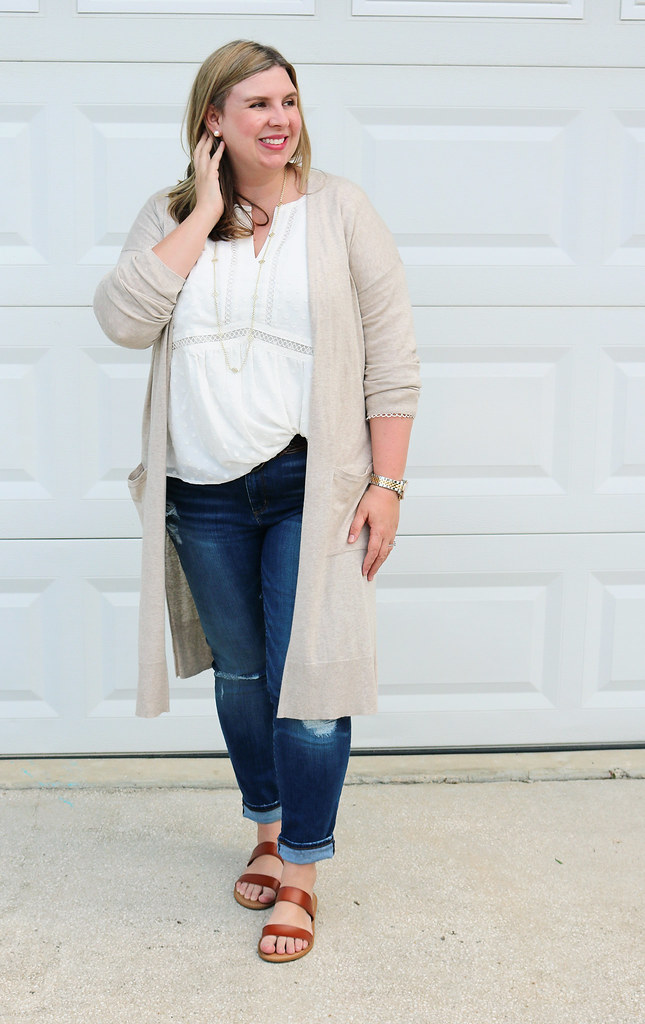 white peasant top, long tan cardigan, distressed jeans, double strap sandals 4