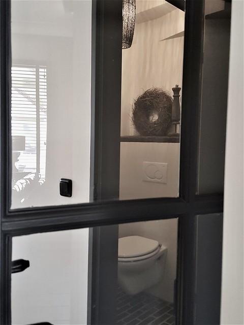 Zwarte binnendeur met glas
