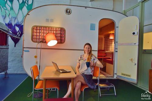 Huttenpalast Hotel Berlin - relaxing by my caravan