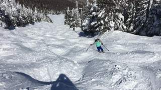 Sylvie skiing Exterminator at Sugarbush North