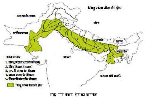 सिंधु-गंगा मैदानी क्षेत्र का मानचित्र