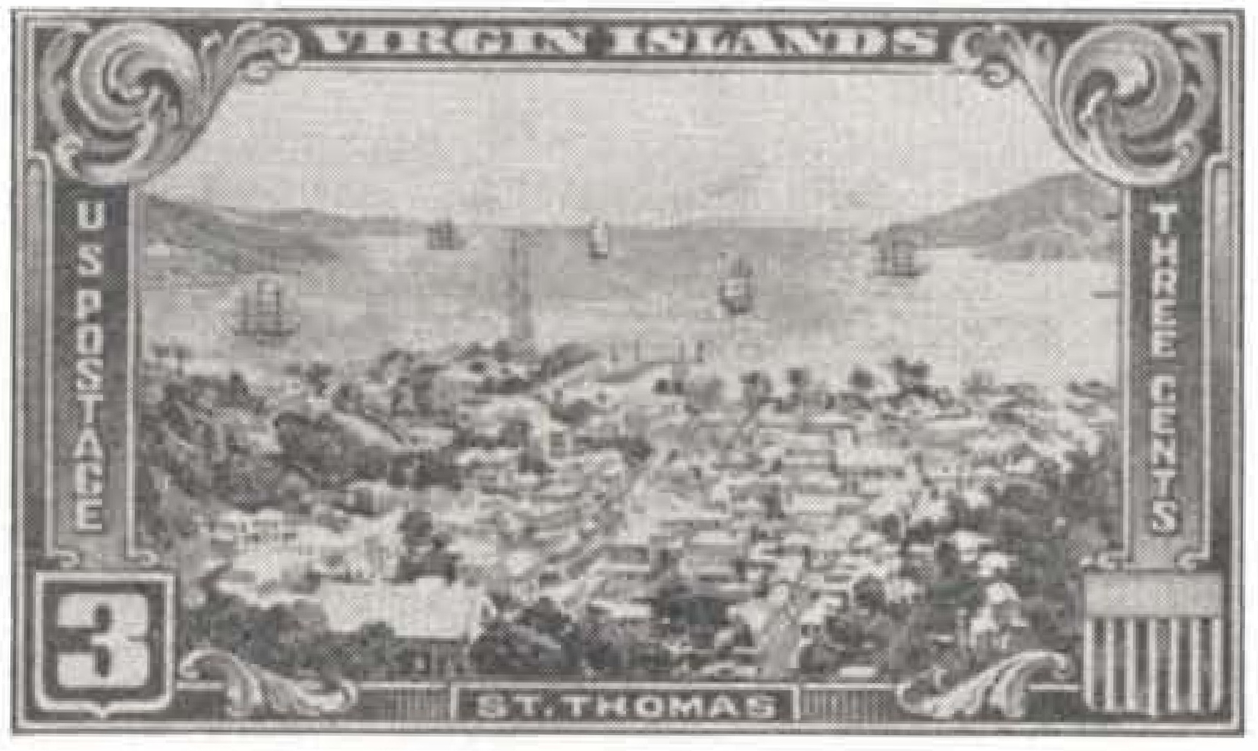 Unreleased design for the 1937 Virgin Islands stamp picturing St. Thomas harbor rather than the approved Charlotte Amalie design.