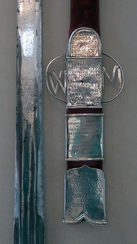 An old silver sword sheath at the Museum in Galway, Ireland