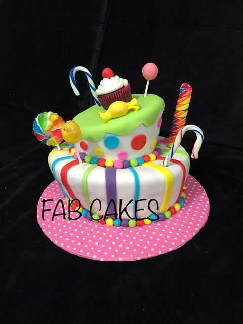 Topsy Turvy Candy Theme Cake by FAB Cakes
