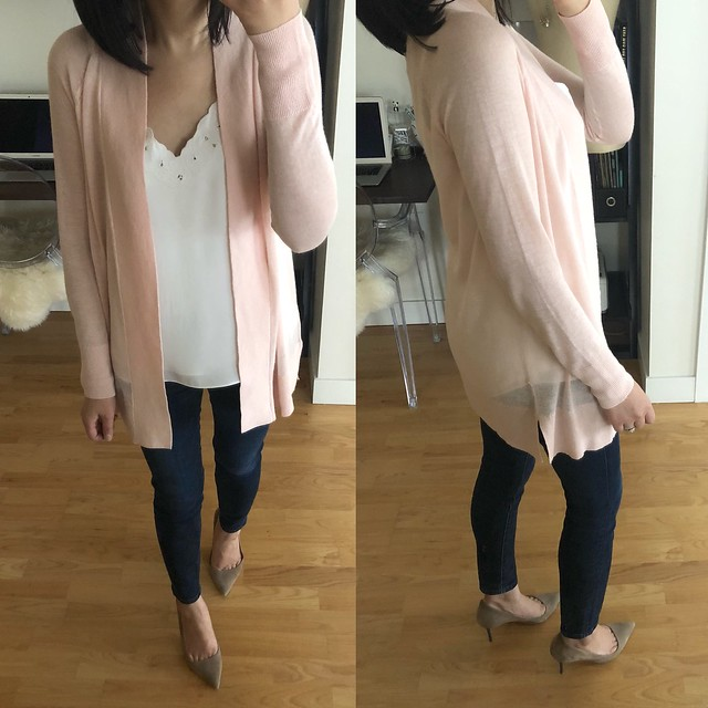 LOFT Sheer Open Cardigan in pink fizz, size XSP
